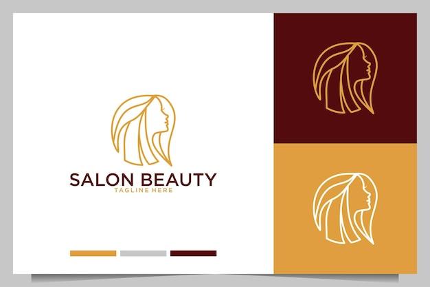 Salão de beleza com design de logotipo feminino