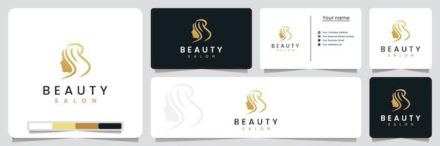 Salão de beleza, corte de cabelo, com estilo de arte de linha e cor dourada, inspiração para design de logotipo