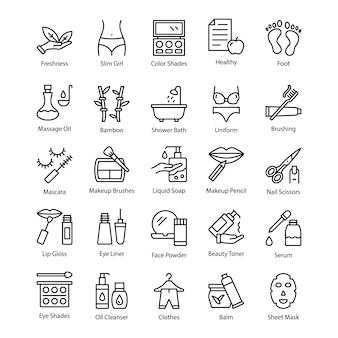 Salão de beleza criativa e ícones de linha de spa