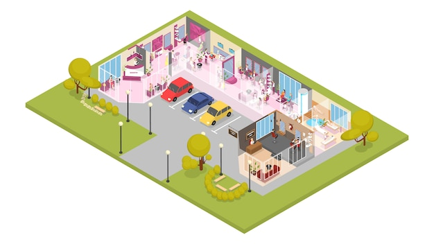 Salão de beleza edifício interior. corte de cabelo, moda manicure e pedicure, spa, cosmetologia e outros. estilo de vida glamour. ilustração isométrica