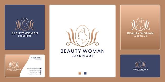 Salão de beleza feminina com crachá de beleza feminina, spa, design de logotipo cosmético de etiqueta