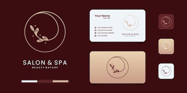 Salão de beleza feminino e logotipo de forma de círculo de arte de linha de spa com natureza de folha minimalista.