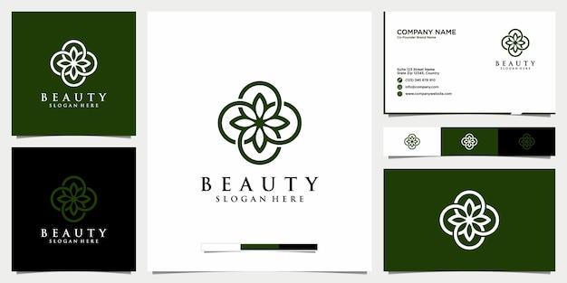 Salão de beleza feminino e spa com logotipo floral linha arte ícone e modelo de cartão de visita
