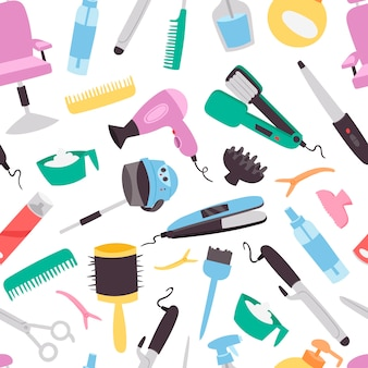 Salão de beleza padrão sem emenda. cabeleireiro colorido utiliza ferramentas equipamentos para salão de beleza. fundo de moda têxtil