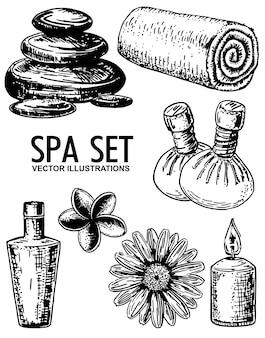 Salão de beleza spa conjunto mão desenhada