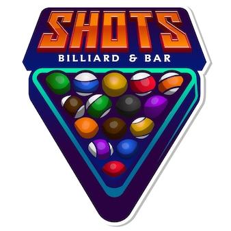 Salão de bilhar e design do logotipo do torneio da barra ou da liga