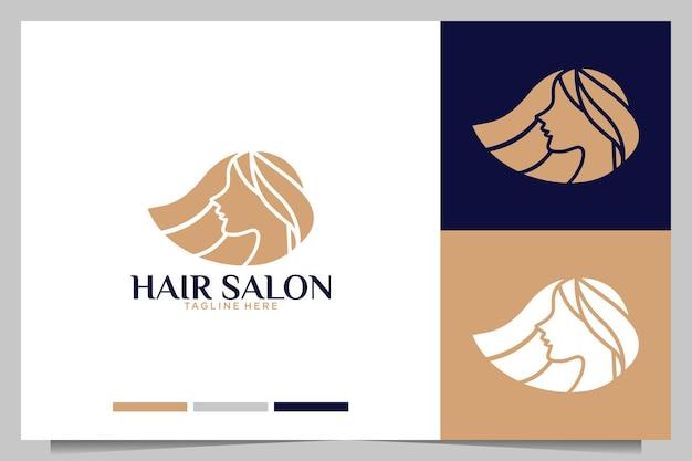 Salão de cabeleireiro com design de logotipo de mulheres de beleza