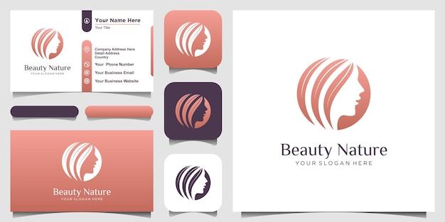 Salão de cabeleireiro de mulher de beleza com logotipo do conceito de natureza e design de cartão de visita.