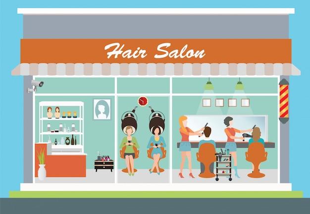 Salão de cabeleireiro e interior.