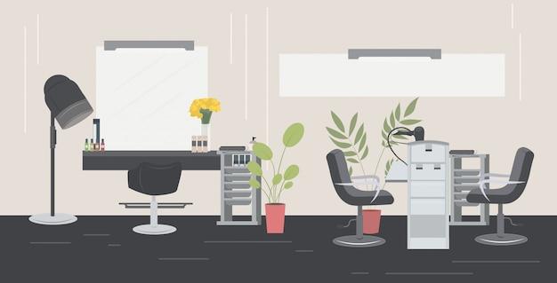 Salão de cabeleireiro e manicure moderno com cadeiras espelho e mobiliário salão de beleza interior horizontal