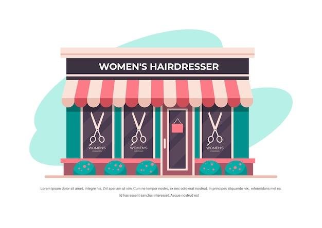 Salão de cabeleireiro feminino moderno sem pessoas construindo fachada vista frontal conceito de barbearia cópia horizontal espaço ilustração vetorial