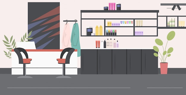 Salão de cabeleireiro moderno com salão de beleza interior de recepção horizontal