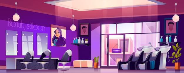 Salão de cabeleireiro vazio interior com cadeiras de cabeleireiro