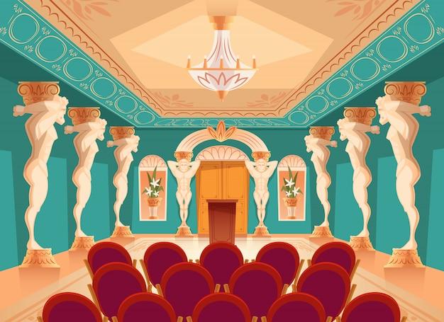 Salão de dança com colunas atlas e poltronas para o público, espectadores.