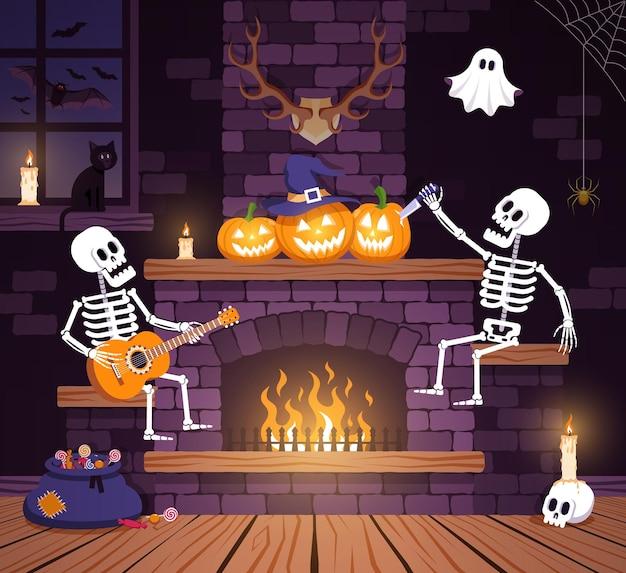 Salão de festas de halloween com abóboras e esqueletos sala de estar com lareira durante o halloween