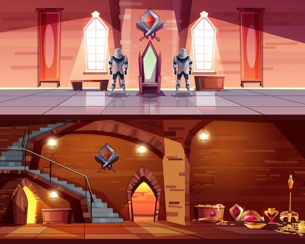 Salão de festas medieval do castelo com guardas do cavaleiro perto do trono real e do calabouço antigo