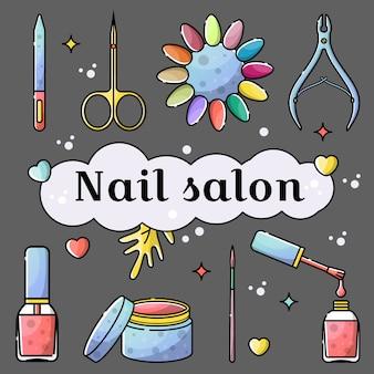 Salão de manicure e manicure ferramentas objetos isolados