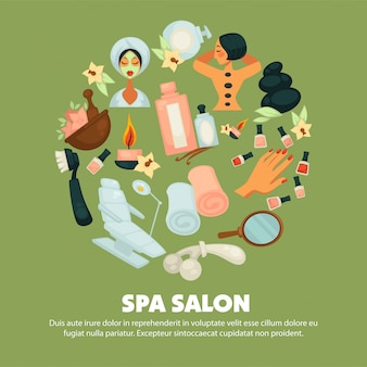 Salão de spa com pôster de serviços de skincare