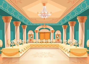 Salão de vetor para banquete, casamento. Interior do salão de baile com mesas, cadeiras para festa, celebração ou