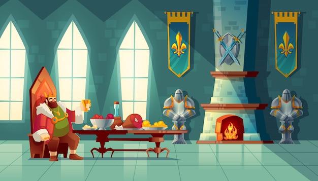 Salão do castelo com o rei come o almoço. mesa de festa com comida, festa de banquete.