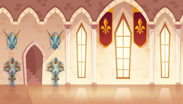 Salão do castelo, corredor no palácio medieval, salão de festas para recepções reais e dançantes.
