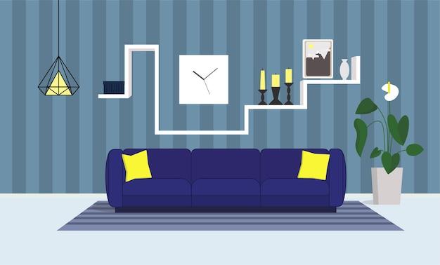 Salão interior com sofá azul
