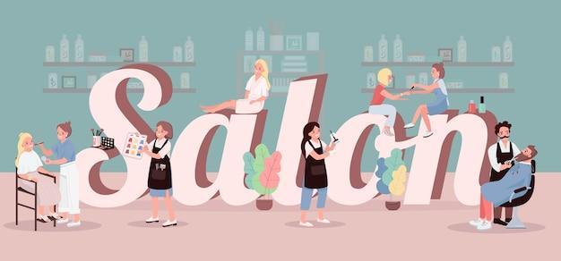 Salão palavra conceitos cor banner. tratamento no centro de spa. cabelo colorido. aplicando maquiagem. tipografia com pequenos personagens de desenhos animados. ilustração criativa de salão de beleza em verde