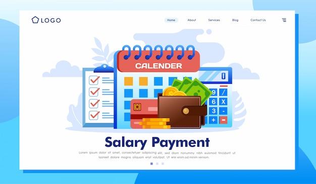 Salário pagamento página de destino site ilustração
