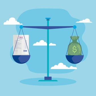 Saldo de dinheiro e impostos Vetor Premium