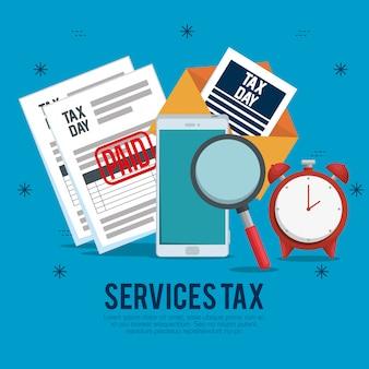 Saldo de relatório de imposto sobre serviços com smartphone