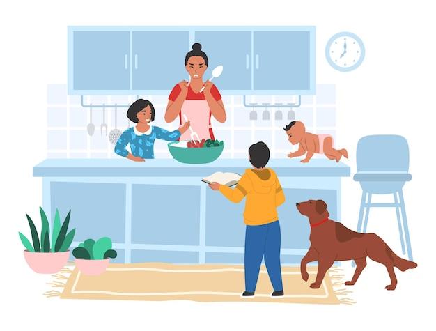 Salientou a mãe cansada cozinhando na cozinha com os filhos, ilustração vetorial plana. estresse dos pais, problemas parentais ao criar os filhos.