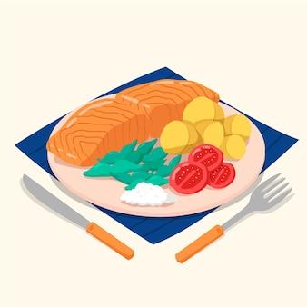 Salmão de comida caseira com legumes