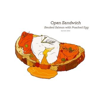 Salmão fumado com sanduíche de ovo escalfado