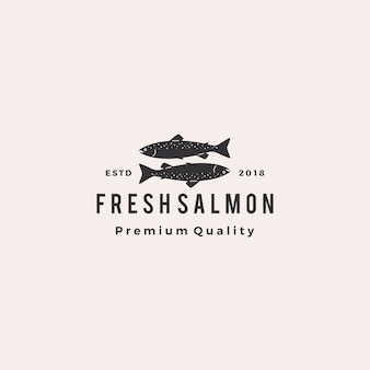 Salmão peixe logotipo frutos do mar retro hipster vintage rótulo crachá