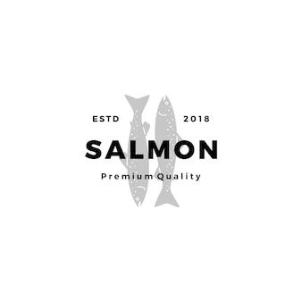 Salmão peixe logotipo frutos do mar rótulo distintivo vetor adesivo download