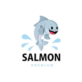 Salmão polegar para cima mascote personagem logotipo icon ilustração