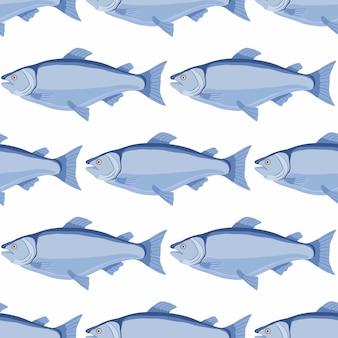 Salmão sem costura padrão - peixe dos desenhos animados, frutos do mar