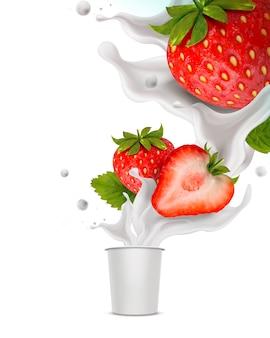 Salpicando iogurte de morango com frutas frescas e recipiente para xícara