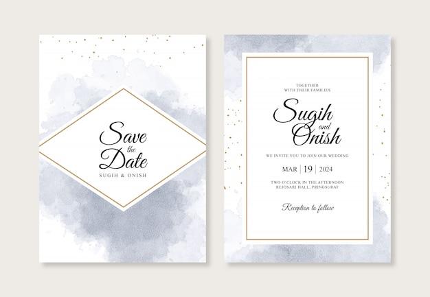 Salpicos de aquarela azuis para um modelo de convite de casamento minimalista