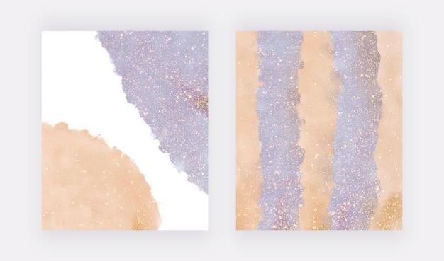 Salpicos de aquarela azul e laranja com textura de glitter