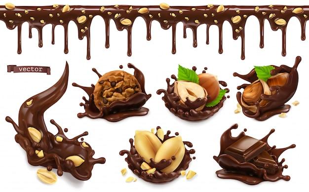 Salpicos de chocolate com amendoins, avelãs, biscoitos de chocolate. padrão sem emenda. conjunto de objetos de comida realista 3d