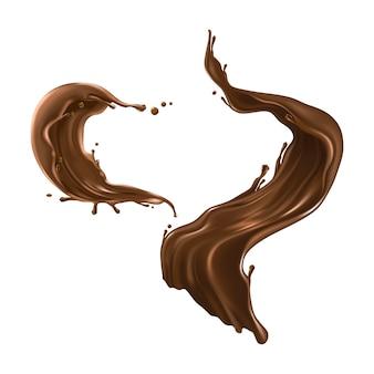 Salpicos de chocolate quente realistas