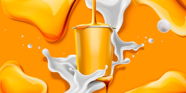 Salpicos de iogurte de mel com recipiente em branco