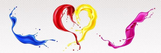 Salpicos de tintas líquidas com redemoinhos e formato de coração isolados