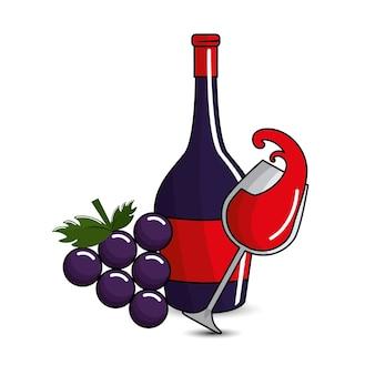 Salpicos de vidro e garrafas de vinho e uva ícone