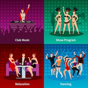 Salsa sexy dançando na boate 4 ícones plana quadrada strip show programa cartaz