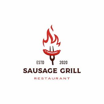 Salsicha fogo chama grelha torrada assado logotipo