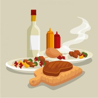 Salsichas com grelha de carne e preparação para churrasco