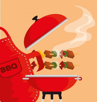 Salsichas com legumes e grelha de carne para churrasco