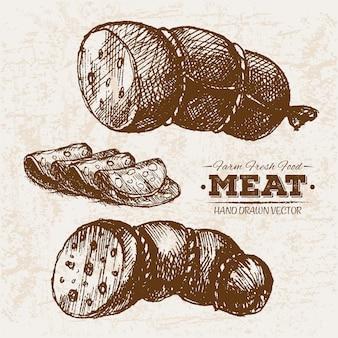 Salsichas de mão desenhada